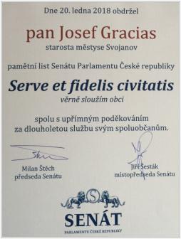 Pamětní list Senátu Parlamentu České republiky
